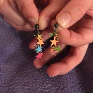 NWOT Multi-colored star dangle earrings